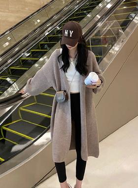 定制针织开衫中长款春秋冬季毛衣外套女宽松慵懒风显瘦2021年新款