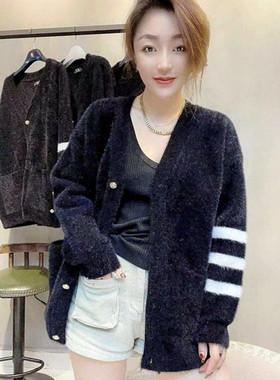 反季促销 2021秋冬新款加厚加密v领中长款水貂绒外套女宽松毛衣