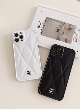 潮牌菱格小香风12pro适用苹果11手机壳iphone12女款X硅胶xr套xsmax大牌XS软壳promax网红8plus镜头保护全包7p