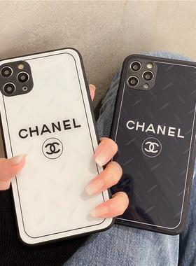 奢华潮牌玻璃小香风12Pro Max苹果11手机壳高级感XS MAX硅胶大牌iPhoneX新款超火XR女款网红7/8plus全包防摔