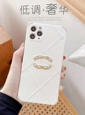 轻奢小香风新款iPhone12适用苹果11 Max手机壳iPhoneX/XR贴皮女款8plus高级白色7p全包SE2防摔11MAX大牌老花