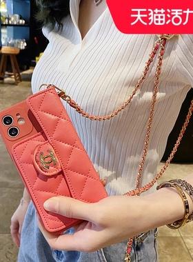 小香风零钱包VIVO X60手机壳新款X50斜跨背带X30链条挂绳X27por高档皮质x60pro+女款x50pro plus防摔软5g大牌