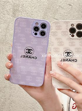 夕二 欧美奢华大牌满屏小香风适用iphone12pro max苹果11手机壳iphonex玻璃壳xsmax/xr/8plus女款7全包防潮