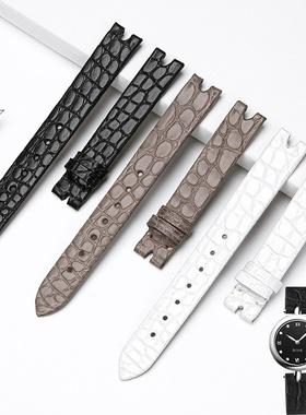 达梭适用于欧米茄鳄鱼皮手表带真皮女424.13.27蝶飞系列12MM凹口