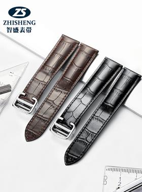 真皮手表带男女士配件蝴蝶扣适用于卡地亚坦克欧米茄浪琴天梭表链