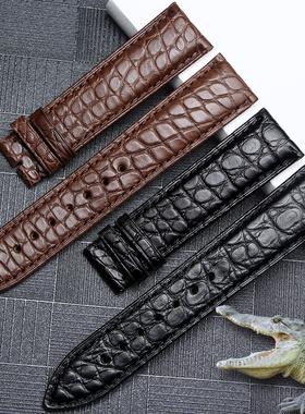 正品鳄鱼皮表带真皮男女士适用欧米茄浪琴名匠天梭天王罗西尼手表
