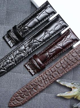 双面鳄鱼皮表带真皮男女士适用浪琴天梭欧米茄天王罗西尼美度手表