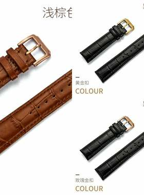 欧米茄手表女款蝶飞男士手表皮带代用女士真皮表带手表链针扣20mm