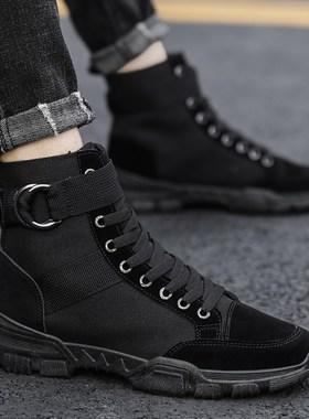 丹戈李宁夏季男帆布鞋子高帮全黑色透气布鞋潮鞋工装男鞋潮流百搭