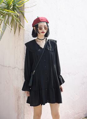 GILLANN自制/春季新款法式复古宽松显瘦雪纺长袖百褶连衣裙女夏