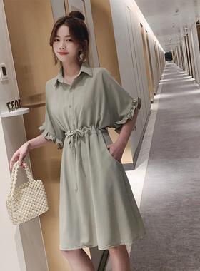 很仙的雪纺衬衫式连衣裙2021新款夏显瘦收腰中长款宽松衬衣裙子女