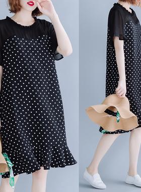 雪纺连衣裙女夏2020新款宽松大码胖妹妹减龄波点宽松荷叶边鱼尾裙