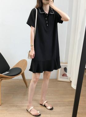 遮肚娃娃领雪纺连衣裙女2021夏季韩版百搭宽松显瘦中长款荷叶边裙