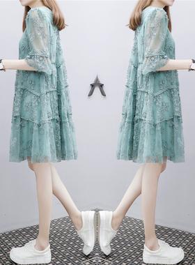 欧洲站2021年夏新款女装宽松中长款遮肚雪纺碎花刺绣a字连衣裙子