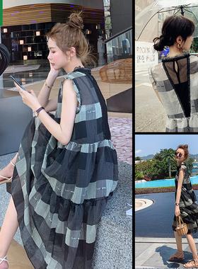 连衣裙女夏季新款法式气质大码雪纺炸街小个子宽松显瘦两件套长裙
