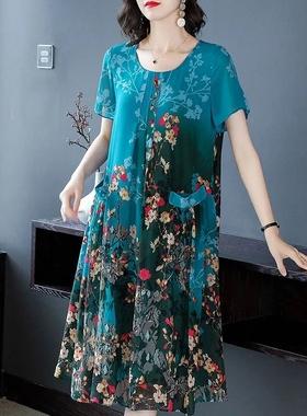 雪纺连衣裙女中长款大码印花中年妈妈夏装阔太太气质宽松显瘦裙子