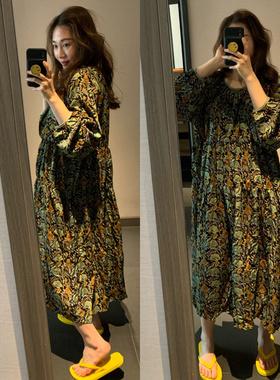 现货显瘦韩国2021夏秋新款女装宽松复古洋气碎花中长款雪纺连衣裙