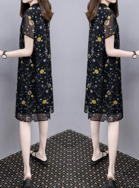 2021夏季新款时尚女装V领雪纺网纱黑色裙子中长款宽松遮肉连衣裙
