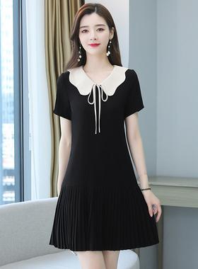 娃娃领雪纺连衣裙2021夏季新款韩版宽松显瘦减龄小个子系带百褶裙