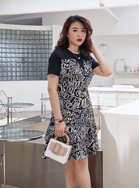 伊自尚大码拼接假两件胖mm宽松显瘦连衣裙子2021夏新款收腰雪纺裙