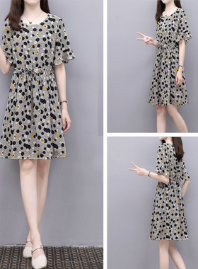 2021夏季新款黑白圆点印花抽绳腰带裙中长款宽松显瘦雪纺连衣裙女