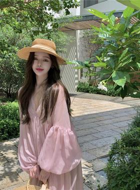 长袖防晒连衣裙夏季薄款甜美雪纺仙女裙中长款宽松超仙粉色裙子女