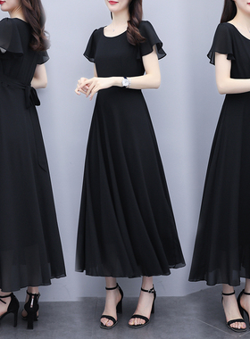 2021新款夏季气质大码女装胖mm宽松显瘦中长款过膝大摆雪纺连衣裙