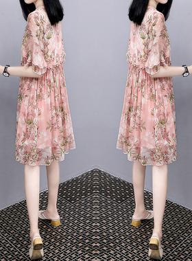 2021夏装新款大码遮肚雪纺娃娃裙宽松显瘦中长款a字印花连衣裙女
