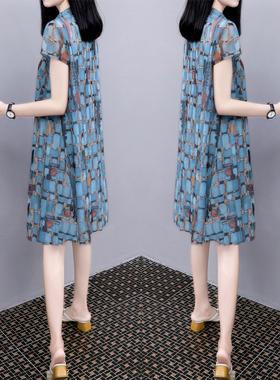 2021夏季新款大码印花裙子中长款宽松显瘦V领雪纺网纱连衣裙女装