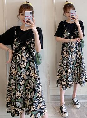 胖妹妹假两件连衣裙大码女装夏季新款韩版宽松显瘦遮肚子雪纺裙子