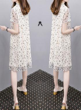 2021夏季新款V领大码时尚女装中长款宽松显瘦雪纺网纱连衣裙女潮
