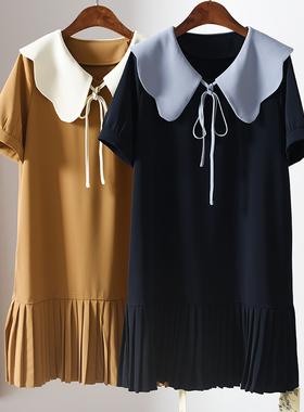 宽松雪纺连衣裙2021夏新款花瓣边撞色百褶裙减龄娃娃领学院风裙子