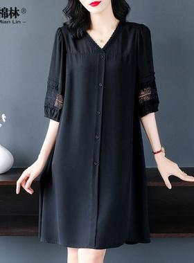 裙子女胖mm宽松遮肚显瘦特大码女装2021年夏装新款妈妈雪纺连衣裙