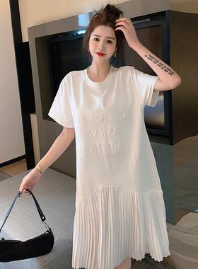 2021夏季新款港风立体字母宽松显瘦连衣裙大码时尚拼接雪纺百褶裙