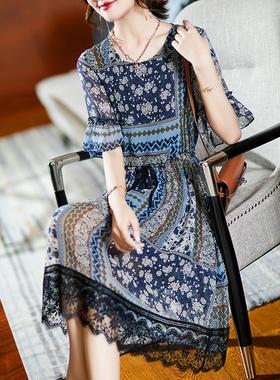 衣品乐欧洲站大码新款蕾丝雪纺碎花连衣裙宽松胖妹妹MM女装2021夏