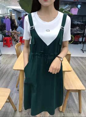 假两件背带裙女2021夏季新款中长款宽松显瘦时尚休闲连衣裙雪纺裙