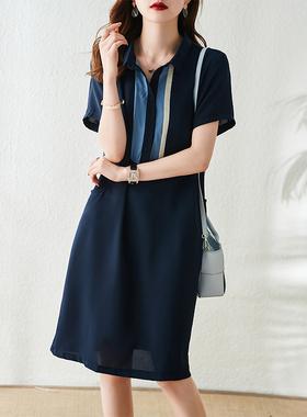衣品乐polo领雪纺连衣裙女夏季2021新款欧货宽松直筒设计感衬衫裙