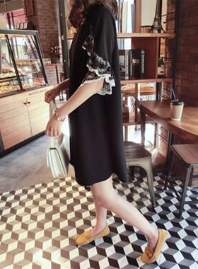 2021春夏新款女装韩版中长款宽松直筒连衣裙蕾丝花边袖雪纺连衣裙