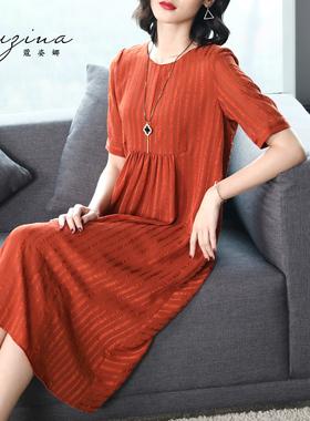 蔻姿娜2021春夏新款显瘦宽松大码女装条纹连衣裙气质中长款雪纺裙
