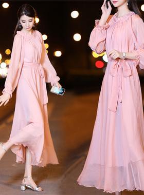 2021春夏新款连衣裙中长款雪纺夏季气质显瘦胖mm宽松长袖仙女长裙