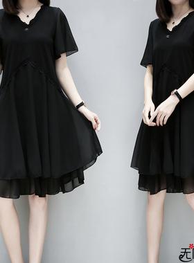 2021春夏装季中长新款大码女时尚宽松胖mm遮肚子显瘦雪纺连衣裙子