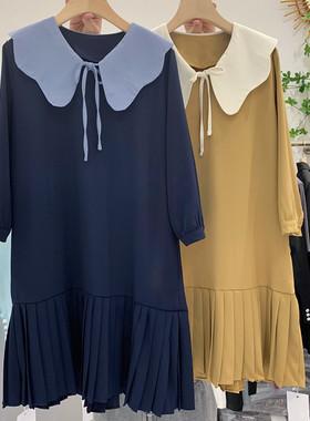 荷叶边连衣裙女中长款2021春夏季新款宽松显瘦百褶裙雪纺西装裙子