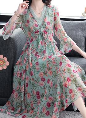 印花雪纺连衣裙女2021春夏新款气质碎花仙女裙中长款过膝裙子宽松