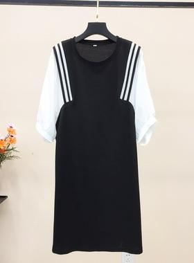 2021春夏季新款雪纺拼接连衣裙女假两件气质中长款T恤裙宽松遮肉
