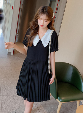 娃娃领雪纺连衣裙女2021春夏新款法式赫本风中长款宽松黑色百褶裙