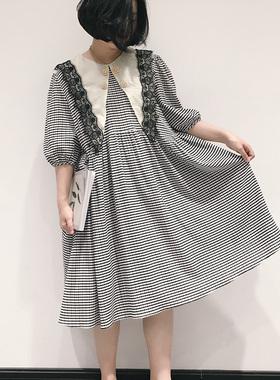 连衣裙2021新款春夏复古田园泡泡袖雪纺大摆型格子宽松中长蕾丝裙