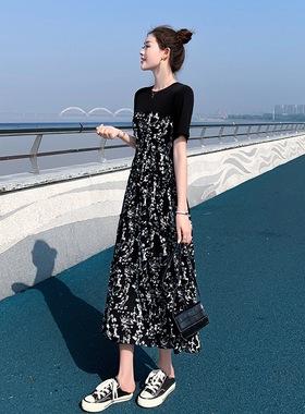 春夏款女装新款雪纺连衣裙中长款2021宽松大码胖mm显瘦仙女碎花裙