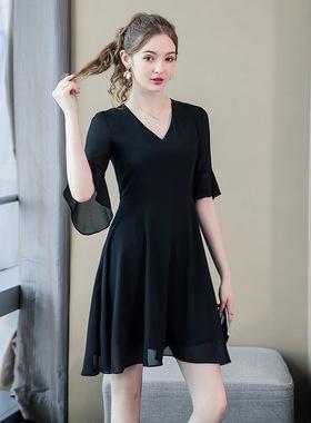 2020夏季新款大码女装显瘦V领裙子胖mm宽松减龄雪纺连衣裙