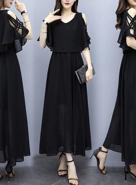 法式黑色赫本风雪纺连衣裙女2021夏新款遮肚显瘦大码胖mm宽松长裙