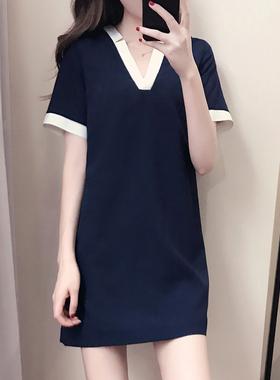 显瘦遮肚子 V领雪纺连衣裙夏2021新款大码胖mm宽松休闲直筒裙子女